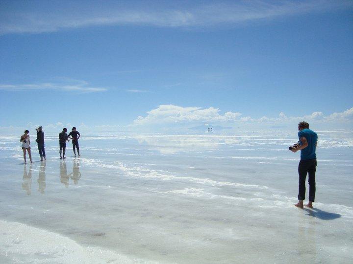 Travel writer and photographer Robert Schrader at the Uyuni Salt Flats in Uyuni, Bolivia