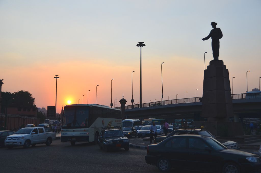 Statue of Hosni Mubarak at Sunset in Cairo, Egypt