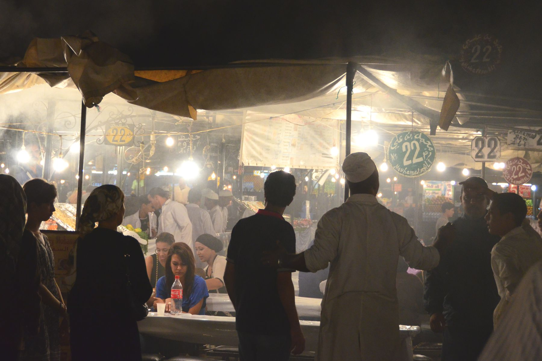 Food stalls at Jemaa el-Fnaa square in Marrakech, Morocco