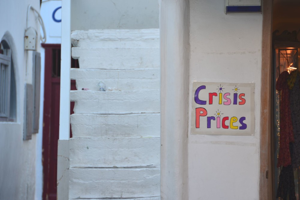 Sign of Greek financial collapse in Mykonos