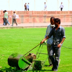 Lawnmower at Taj Mahal in India