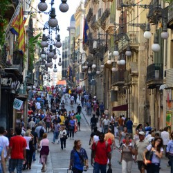 Busy Street in Barcelona Spain