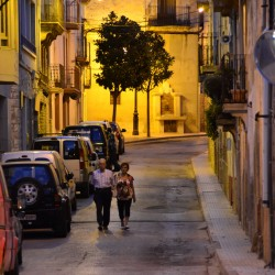 Couple Walking at Night in Spain
