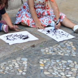 Girls Drawing in Granada Spain