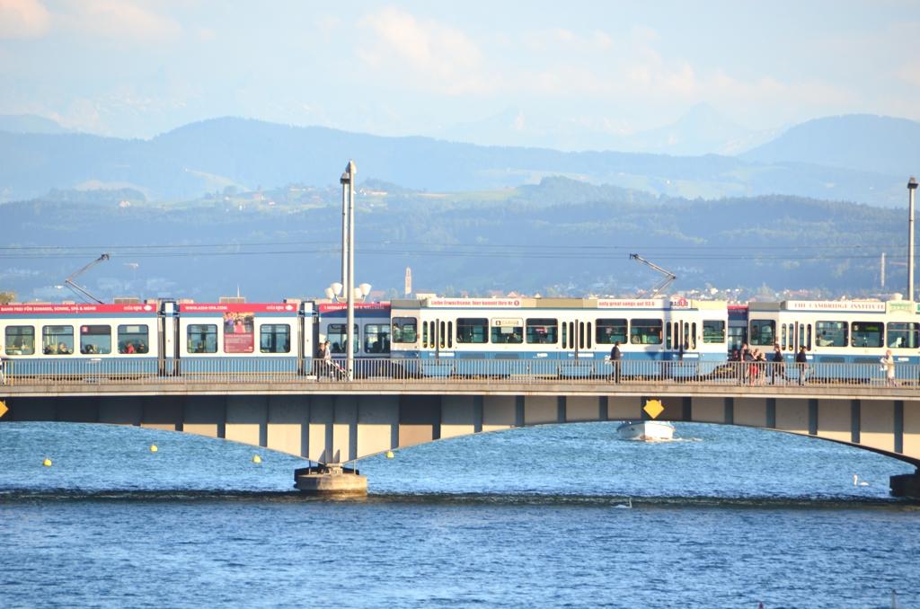Tram Crossing Bridge in Switzerland