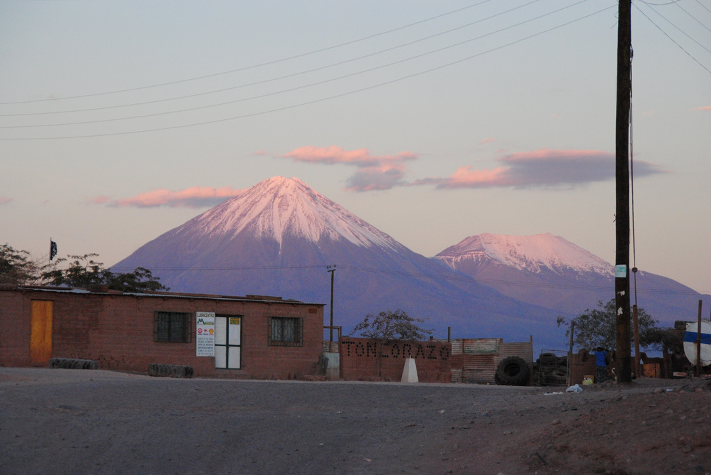 Majestic, purple mountains toward over Chile's Atacama desert