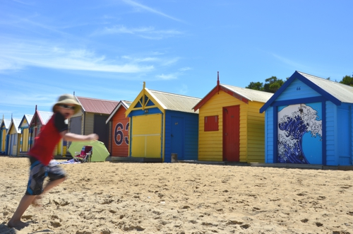 Brightly-colored bathing boxes are the focal point of Brighton Beach