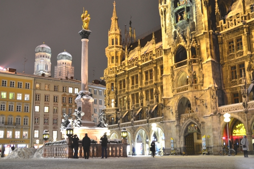 Munich's central Marienplatz is especially beautiful in winter