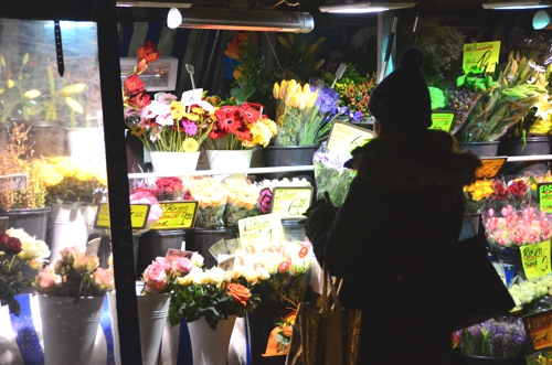 Fresh flower stalls scattered around Munich add a colorful, lively touch to the otherwise dead winter