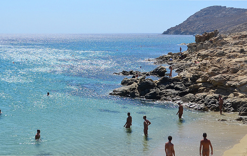 You're not seeing things: Many of these Mykonos sunbathers are nude!