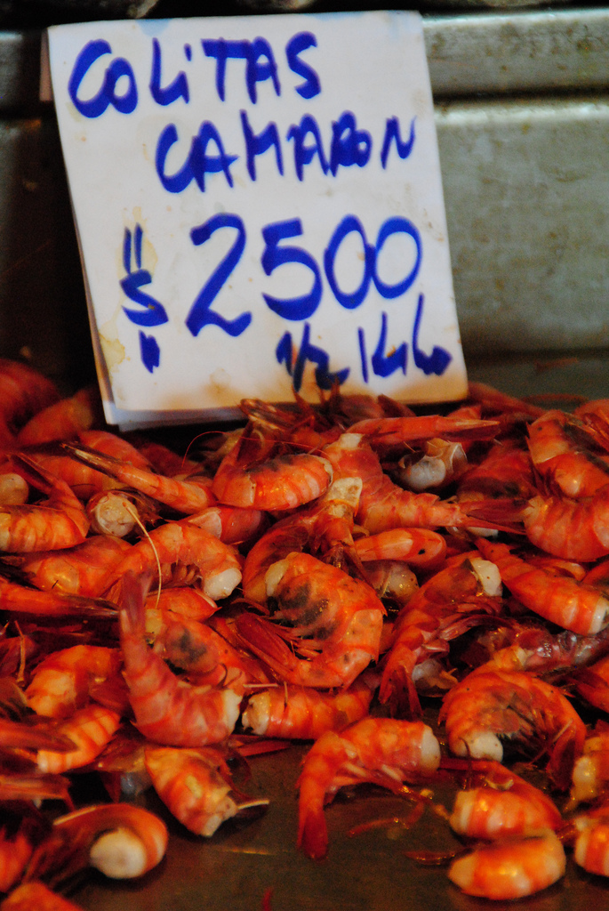 Fresh shrimp are just one of the many colorful items you'll find at Santiago's central market