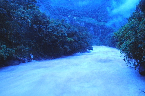 The Urubama River, which runs beneath Machu Picchu, is cool and misty by morning, even in the Peruvian summer