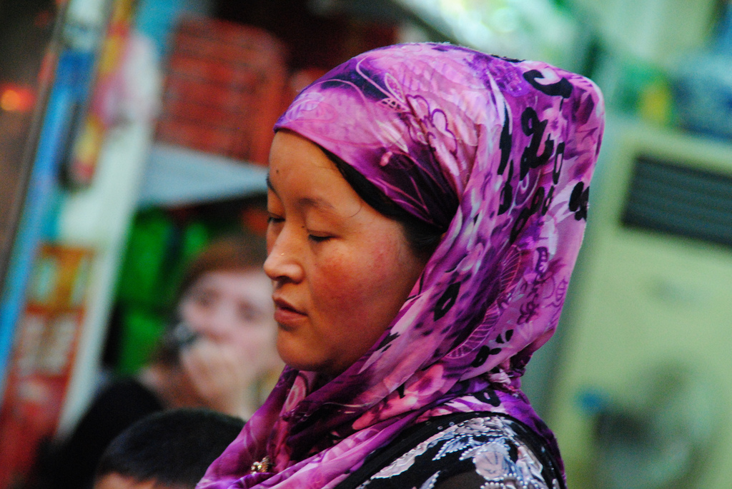 A Chinese Muslim woman with a beautiful headscarf
