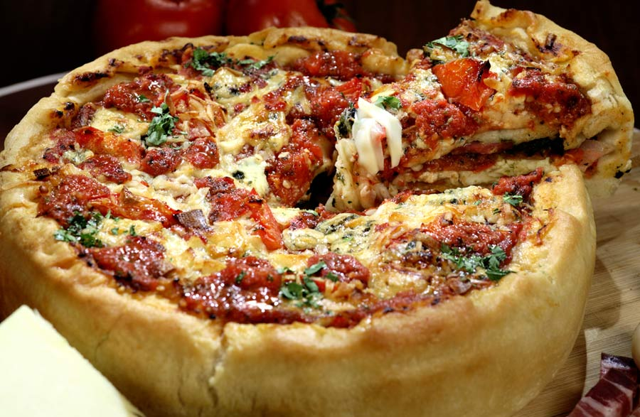 Iconic deep dish Chicago pizza