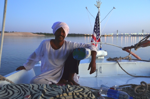 Our patriotic felucca captain – not all Egyptians hate Americans!