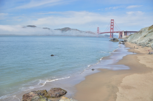 Even better views of the Golden Gate Bridge can be seen from beaches, such as Bakers Beach