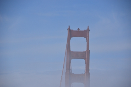 The Golden Gate Bridge never gets old, particularly when there's fog rising around it