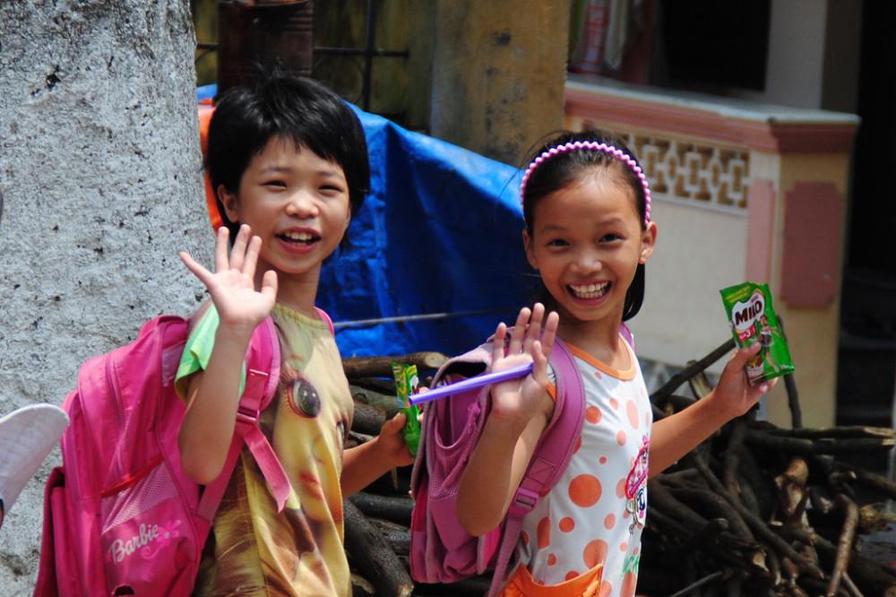 Happy School Girls in Vietnam