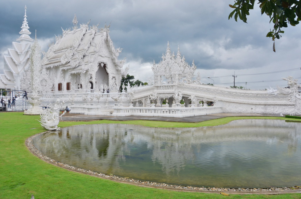 Stark-white Wat Rong Khun temple is located in Chiang Rai