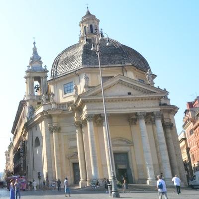 Borromini Church in Piazza del Popolo
