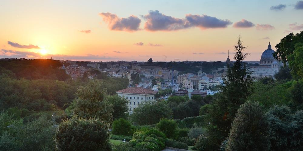 Sunset from Villa Doria Pamphilj in Rome, Italy