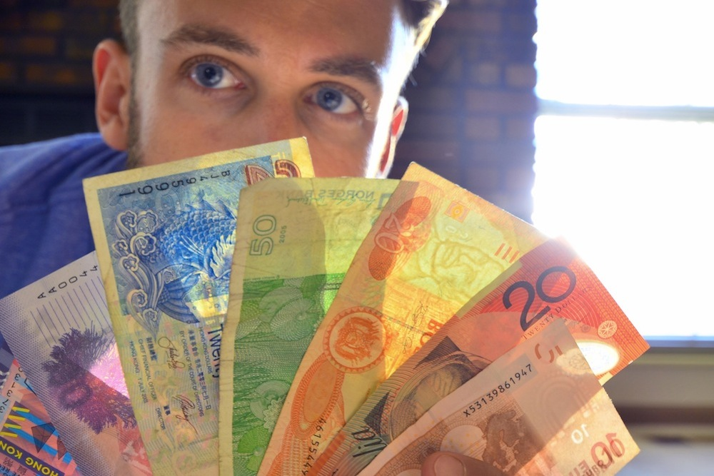 Robert Schrader with Foreign Currency