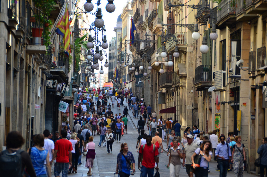 Einkaufsstraße in Barcelona Las