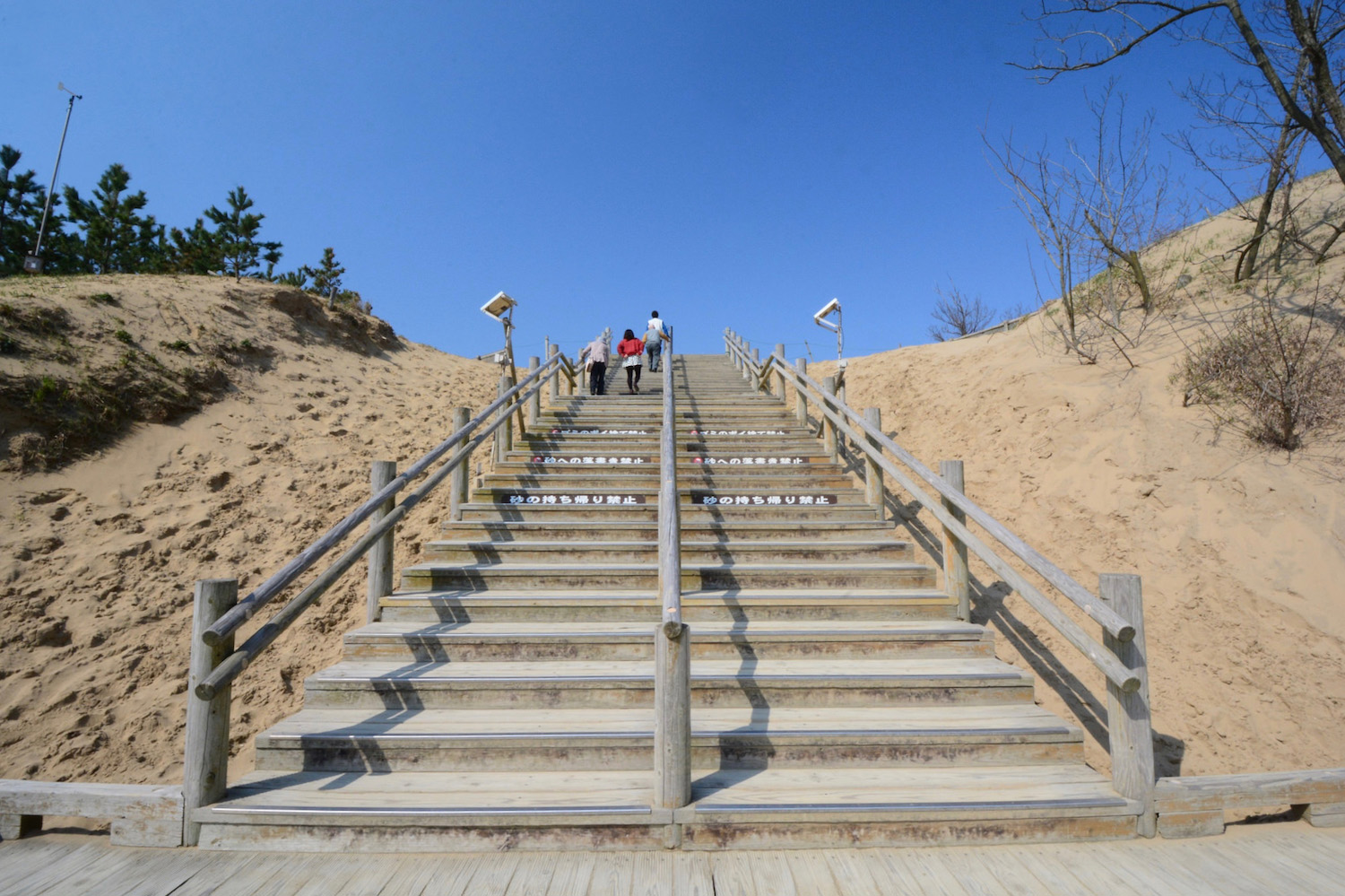 Stairs to desert in Tottori, Japan