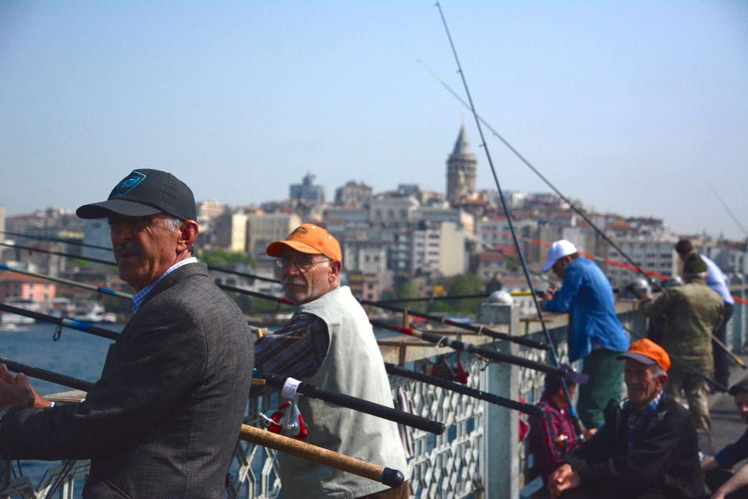 Fishermen on Atatürk Bridge in Istanbul