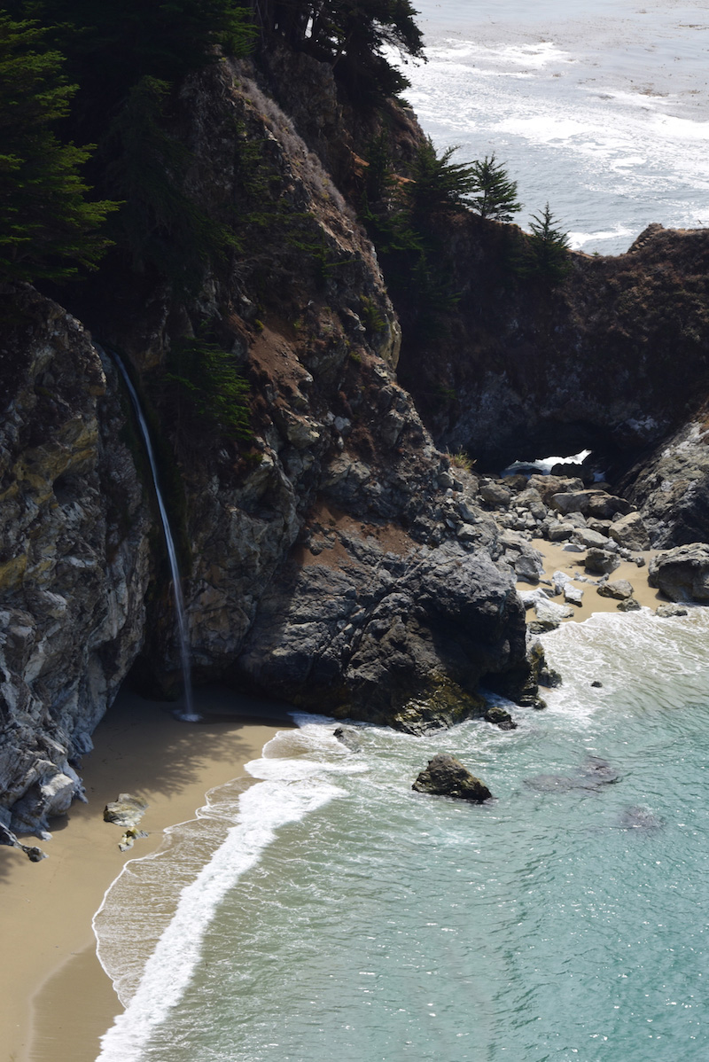 Pacific Coast Highway beach waterfall