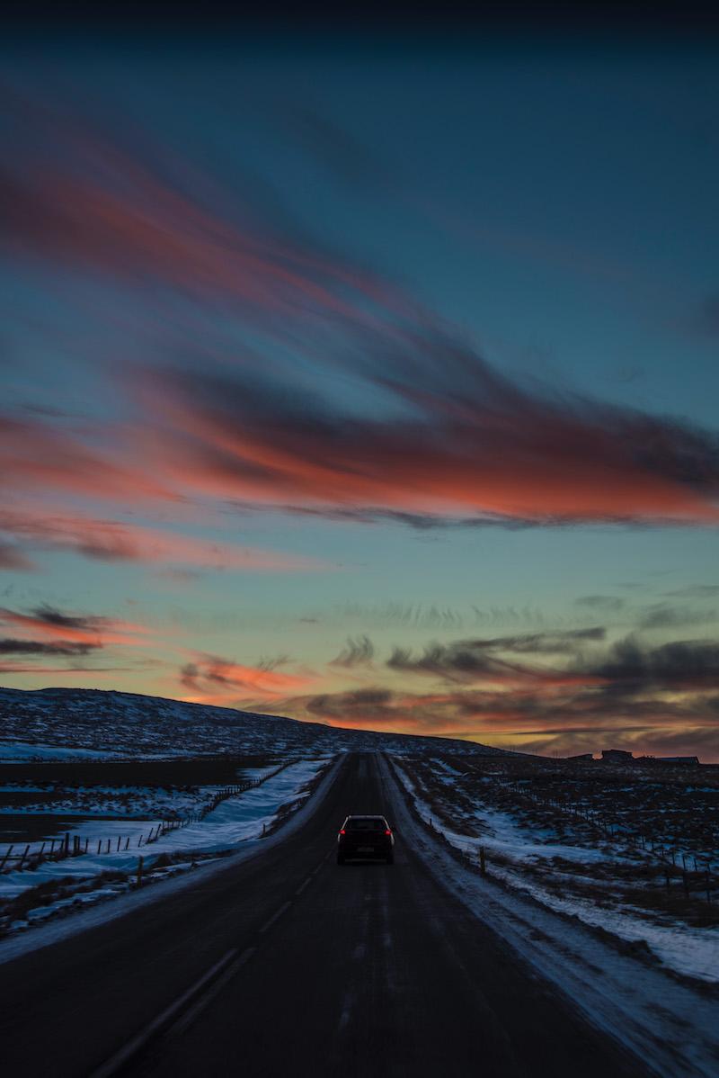 Iceland road trip winter sunrise