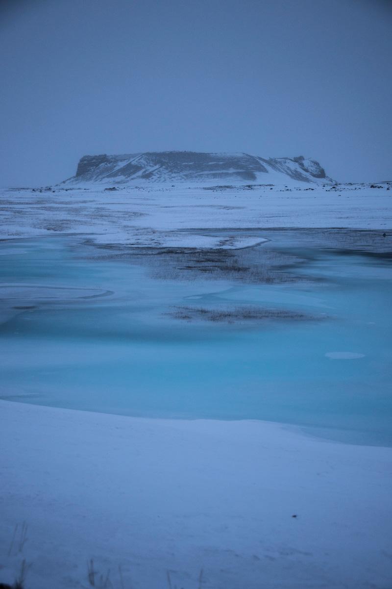 Iceland road trip frozen lake