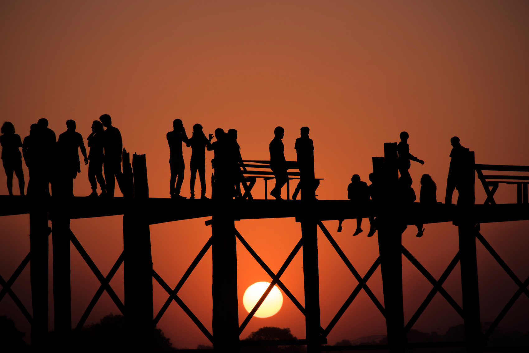 Sunset Over U-Bein Bridge in Amarapura, Myanmar