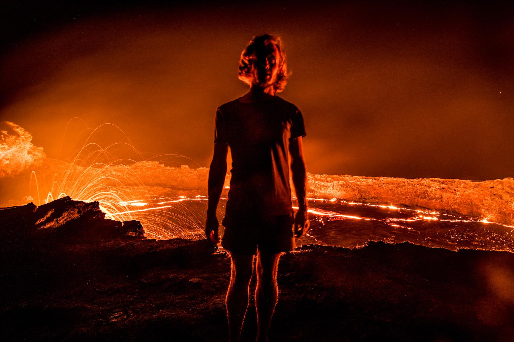Robert Schrader at Ethiopia's Erta Ale Volcano