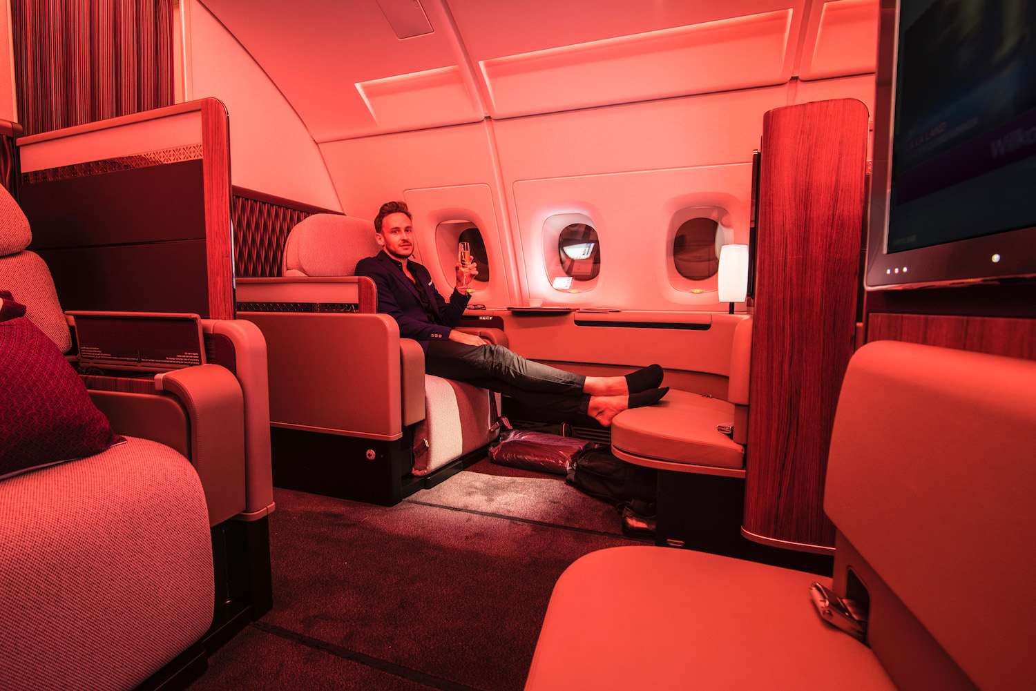 Robert Schrader in Qatar Airways First Class