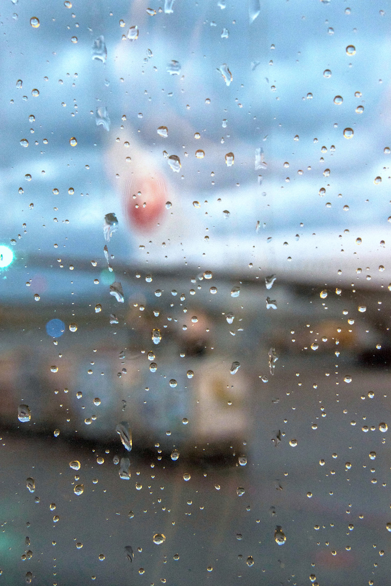 Rainy JAL airplane in Okinawa in winter