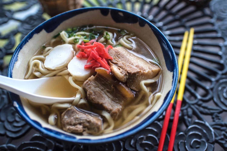 Soba with pork belly in Okinawa, Japan