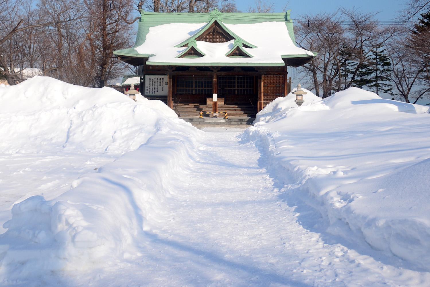 Winter snow in Otaru, Japan
