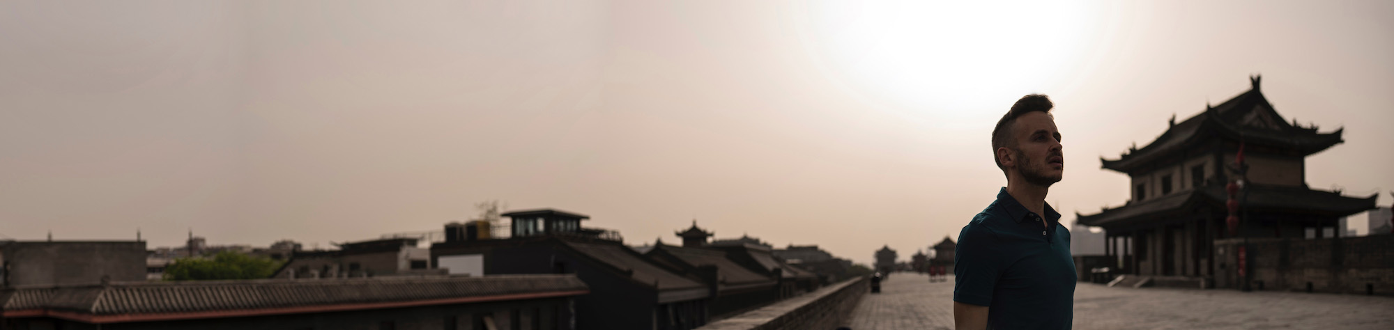 Panorama of Xi'an City Wall with Smoggy Sky
