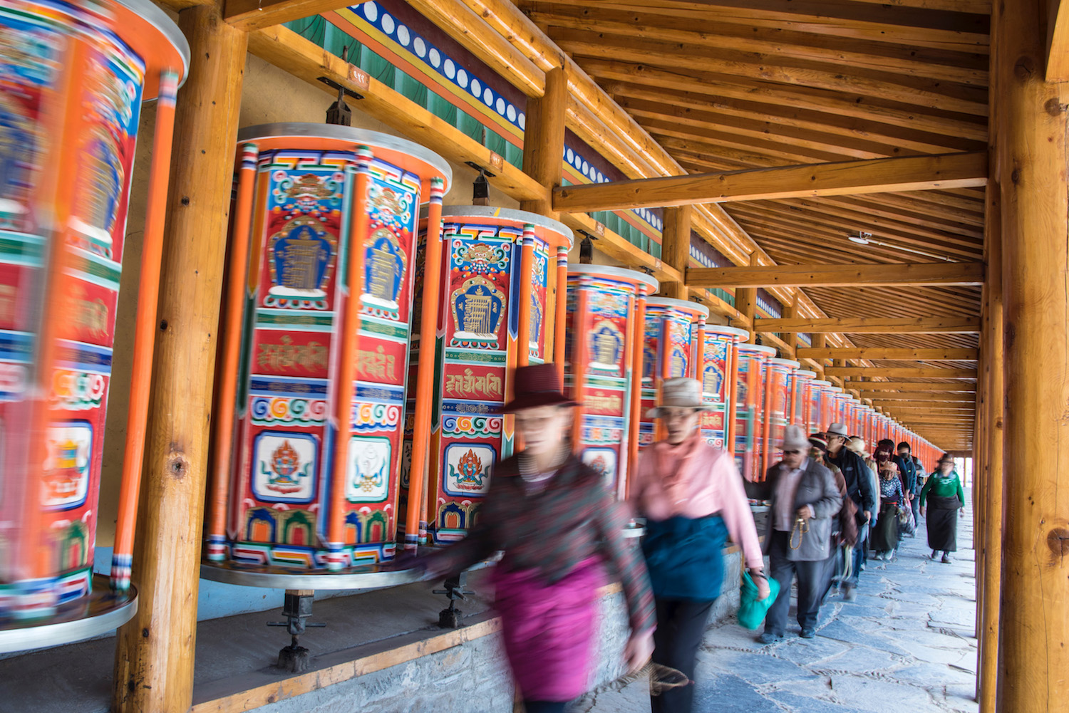 Prayer wheels in Gansu, China