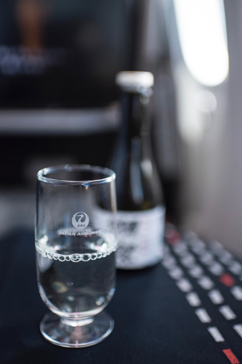 Sake in JAL Business Class Japan Airlines