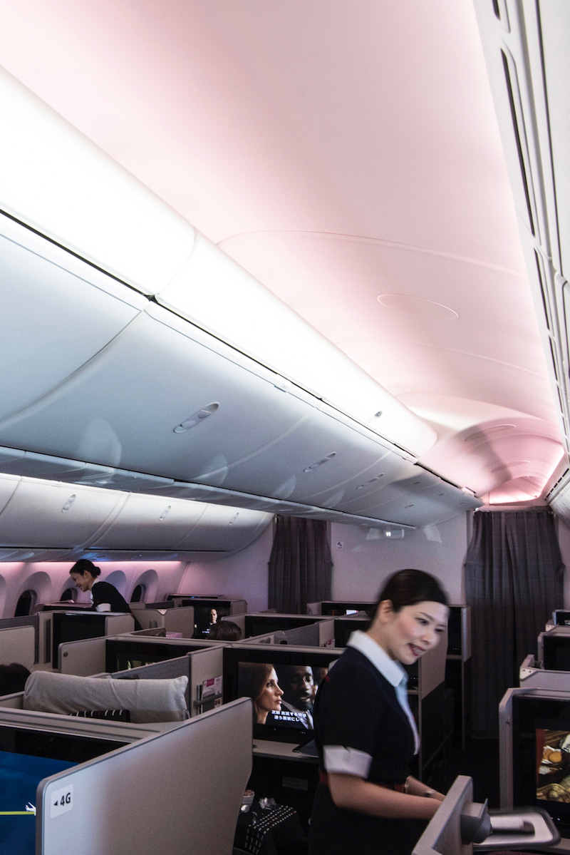 Business class cabin in JAL 787-9 Dreamliner